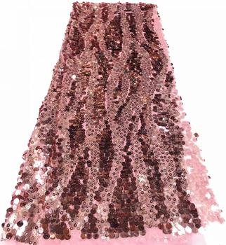 African Sequins Lace Fabrics 2019 High Quality French Lace Fabric Nigerian Tulle Lace Fabrics For Wedding Dress FFR-1113