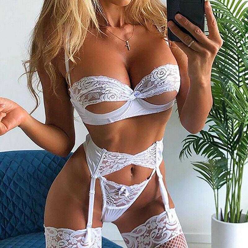 3PCS Women Sexy Lingerie Lace Open Cup Bra High Waist G-string Thongs Garter Belt Underwear Babydoll Sleepwear Set
