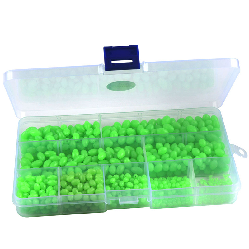 Hundreds of Fluorescent Beads Fishing Lure Bait Luminous Column Float Ball Stopper Space Beans Fishing Accessories Tools Set