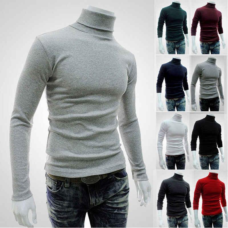 겨울 따뜻한 남자 열 속옷 긴 소매 풀오버 높은 목 터틀넥 스트레치 슬림 기본 t 셔츠 점퍼 니트 스웨터 탑