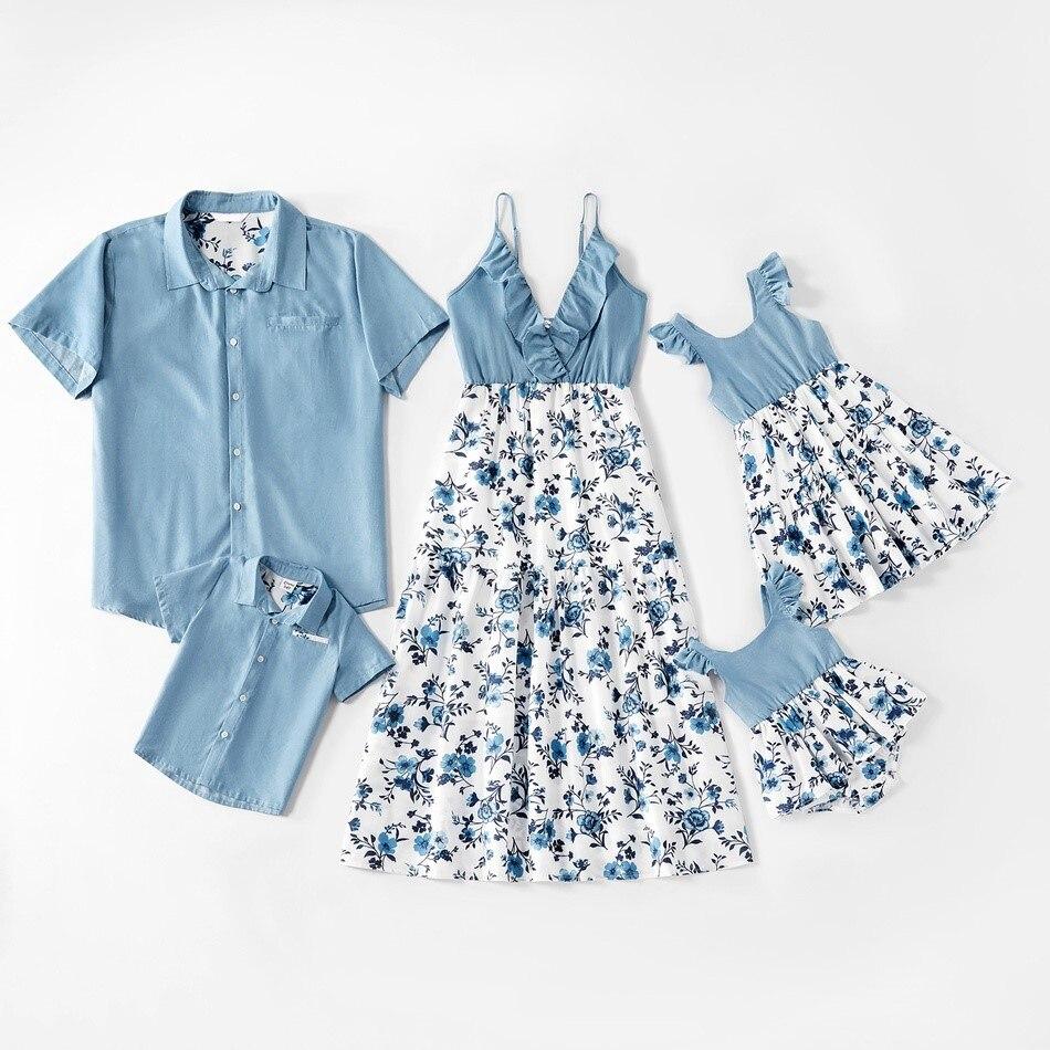 Famille correspondant tenues été père mère fille et fils vêtements robe florale chemise bleue enfants enfants Parent vêtements