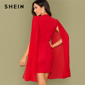 Image 2 - SHEIN Red Solid Pleated Cape Party Bodycon Dress Without Belt Women 2019 Autumn High Waist Cloak Sleeve Sexy Pencil Dresses