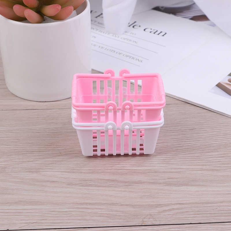 Nova cesta de compras fingir jogar brinquedos crianças mini supermercado compras mão cesta modelo casa boneca móveis em miniatura