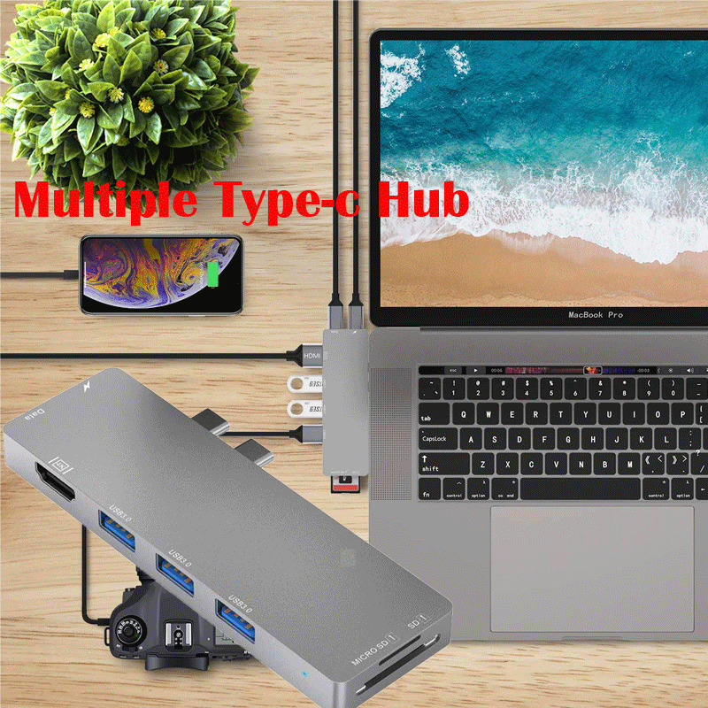 USB C Type C HUB Adapter Dock for Laptop Mobile Phone 8in1 4K HDMI USB 3.0 RJ45 Card Reader PD Data Sync Laptop Docking Stations