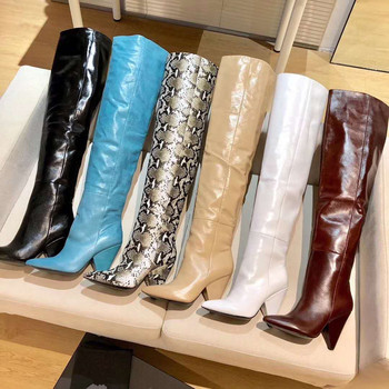Fashion Sexy Ladies Over The Knee Women Genuine Leather Boots High Quality Booties Pointe Toe Botas Spike Heels Boots Size 35-41