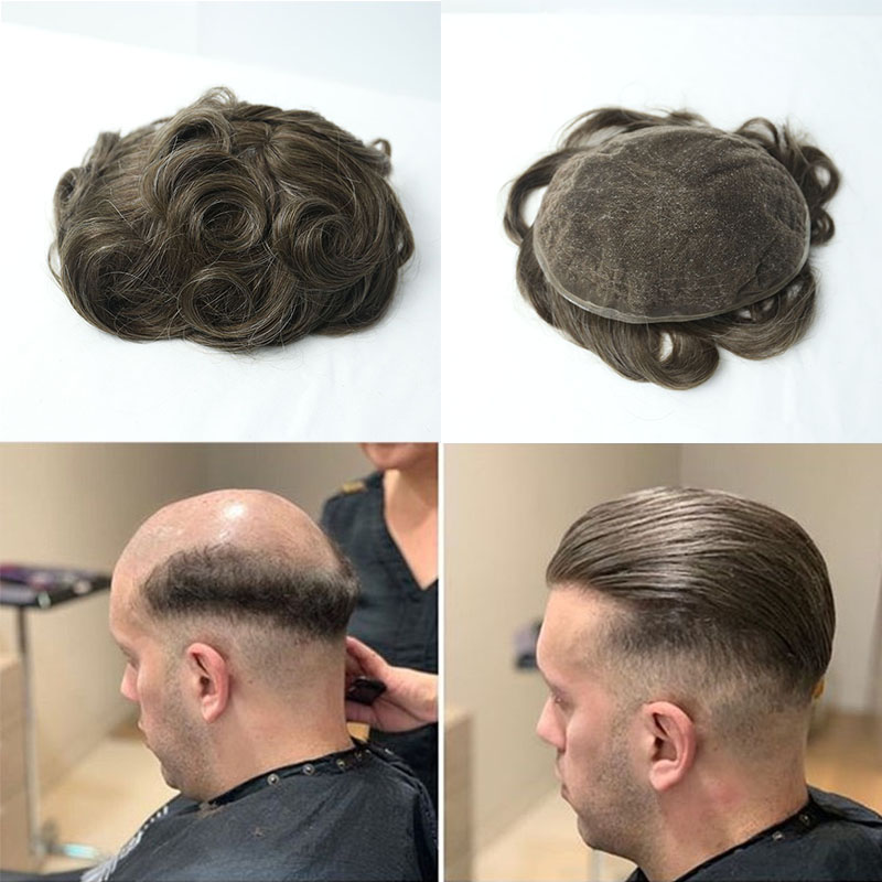 Full Swiss Lace Mens Toupee Hair Replacement System For Men Wig ...