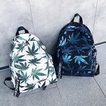 Mochila feminina impermeável, mochila feminina de folhas verdes, à prova dágua, ideal para viagens, estilo universitário