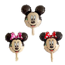 10pc Mini Mickey Red Pink Minnie Mouse head foil balloon Kids Birthday Party Decoration Baby Shower Supplies Inflatable Balloons(China)