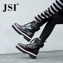 JSI Fashion New Women's Boots Platform Martin Boots Women Large Size Lace-up Genuine Leather Handmade Casual Female Shoes JO218 handmade genuine cow leather red boots working boots platform fashion martin ankle boots fashion men wing casual lace up shoes