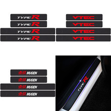 4 pçs typer vtec logotipo de fibra carbono protetor do peitoril da porta do carro adesivo para honda mugen cidade CR-V XR-V HR-V accord decal accessorie(China)