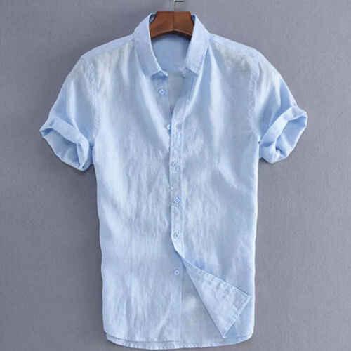 2019 moda męska z krótkim rękawem biała koszula lato fajne  BtGkf