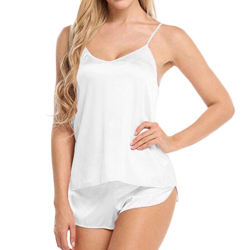 Sexy Lady Simulation Silk Female Pajamas Set V-neck Camisole Sleeveless Sleepwear Nightwear Women Soft Suit Bikini Cover Up
