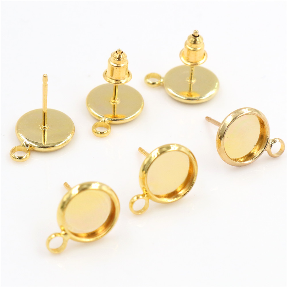 8mm 10pcs/Lot Gold Colors Plated Earring Studs,Earrings Blank/Base,Fit 8mm Glass Cabochons,Buttons;Earring Bezels (T1-18)