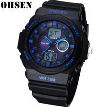 OHSEN Fashion męski zegarek cyfrowy Top marka luksusowy wielofunkcyjny zegar wodoodporny Sport męskie zegarki kwarcowe wojskowe zegarki na rękę tanie tanio 24 5cm QUARTZ Podwójny Wyświetlacz 3Bar Klamra CN (pochodzenie) Z tworzywa sztucznego 15mm Szkło Kwarcowe Zegarki Na Rękę