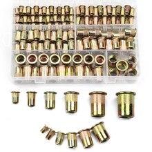 Caja de tuercas de remache de acero al carbono, M3 M4 M5 M6 M8 M10 M12 de cabeza plana, piezas de Hardware, 210/165/100 Uds.
