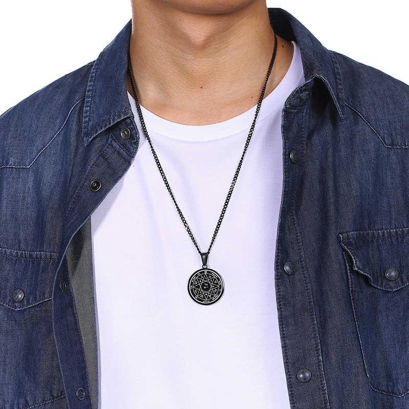 Vnox czwarty pentagram jowisza klucz salomona foki wisiorek dla mężczyzn czarny naszyjnik ze stali nierdzewnej Rock Punk