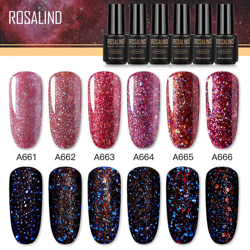 Rosalind Rode Diamant Glitter Gel Nagellak Semi Permanente Uv Alle Voor Manicure Hybrid Vernissen Voor Nail Art Design Top base