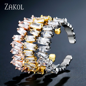 ZAKOL European Style Adjustable Rings Charms Women Jewelry Unique Rectangle Cubic Zircon Finger Rings For Weddings FSRP2003