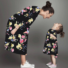 Family Costume Spring 2021 Twinning Mom & Daughter Matching Clothes Flower Print Dress Parent-child Dress Family Patry Clothing