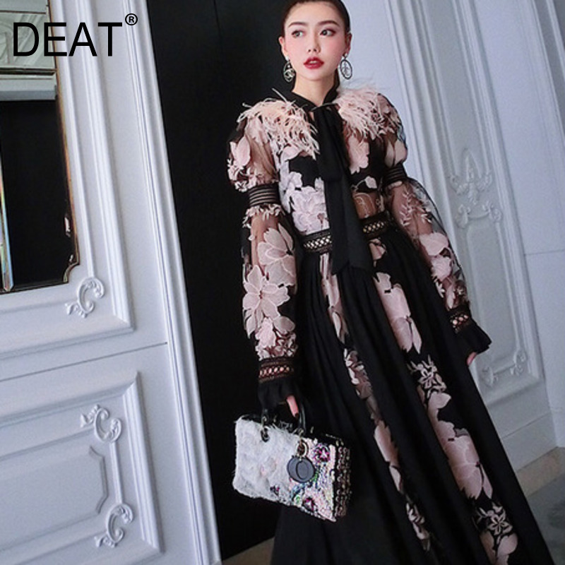 DEAT 2020 New Spring Fashion High Quality Feather Patchwork Lace Embroidery Chiffon Material Long Lantern Sleeves Dress WD35509L