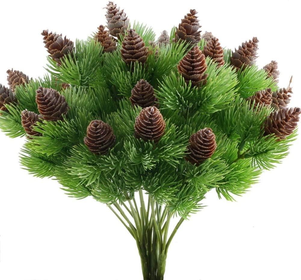 Cônes de pin en plastique artificiel, 5 pièces, Branches, fausses plantes, arbre pour nouvel an, décoration de fête de mariage, fausse herbe