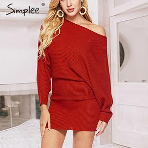 Image 1 - Simplee уличное трикотажное платье, сексуальное однотонное мини платье с круглым вырезом и рукавами «летучая мышь», повседневное шикарное осеннее платье пуловер