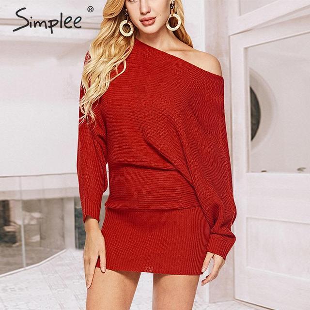 Simplee уличное трикотажное платье, сексуальное однотонное мини платье с круглым вырезом и рукавами «летучая мышь», повседневное шикарное осеннее платье пуловер