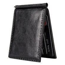 Vintage fino clipe de dinheiro bifold carteiras curtas para homens multi slots de cartão de couro do plutônio luxo cartões de visita carteira masculina clipes de metal