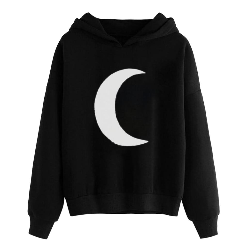 Womens Streetwear Moon Print Gothic Long Sleeve Oversized Hoodie Sweatshirt Hooded Pullover Tops Sweatshirt Women Poleron Mujer