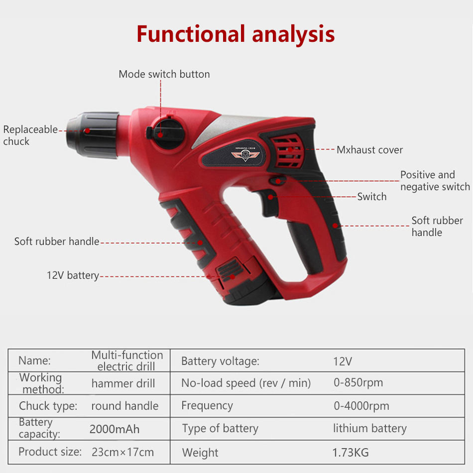 12V Cordless Electric Hammer Impact Drill 2000mAh battery Rechargable Multifunction Rotary Tool Home Power Tools Screwdriver