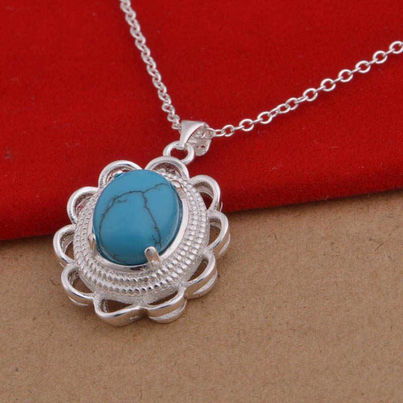 Bague Ringen ดอกไม้เงิน 925 อัญมณีสร้อยคอ Turquoise จี้แต่ละตัวอักษรเครื่องประดับขายส่งของขวัญ