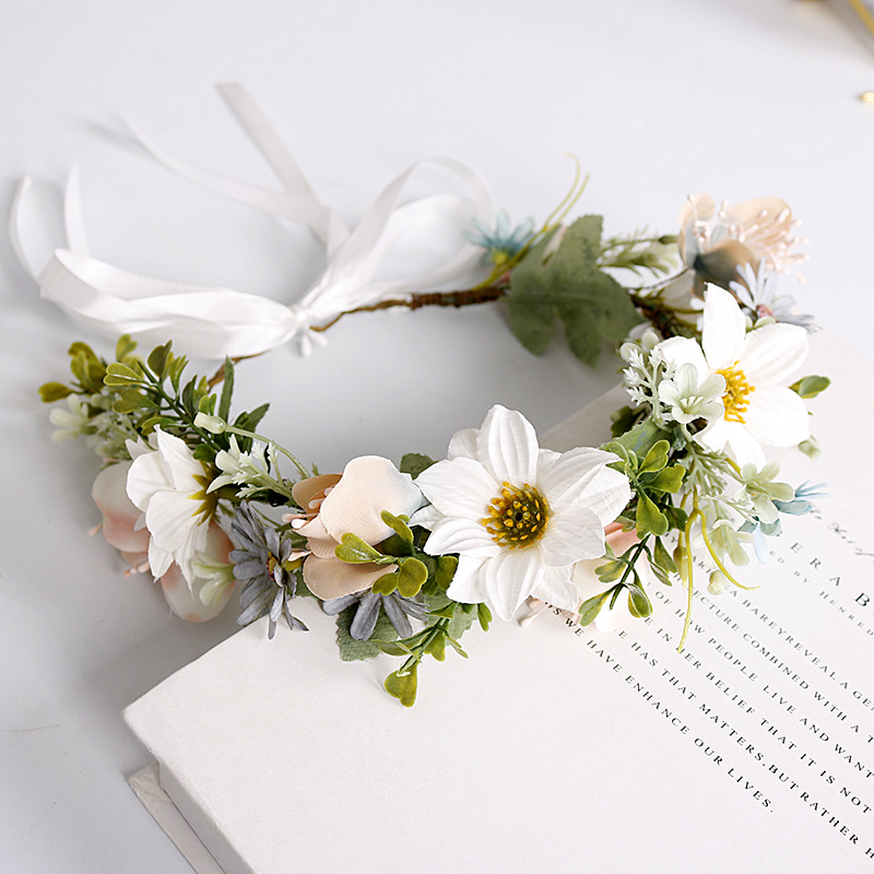 Garland Headband Bridal Wedding Party Headwear White Flower Accessories Romantic Sweet Girl Headdress Bohemian Wreath With Leaf