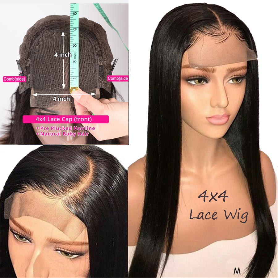 Indian Hair 4x4 Lace Closure Wig Remy Straight Top Human Hair Toppers Extensions Sew In Pre-Plucked Hairline With Baby Hair 150%