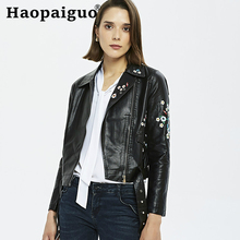 2019 Winter Autumn Embroidered Floral Women Leather Jacket Cleaning Zipper PU Leather Jacket Motorcycle Temale Women Black Coat