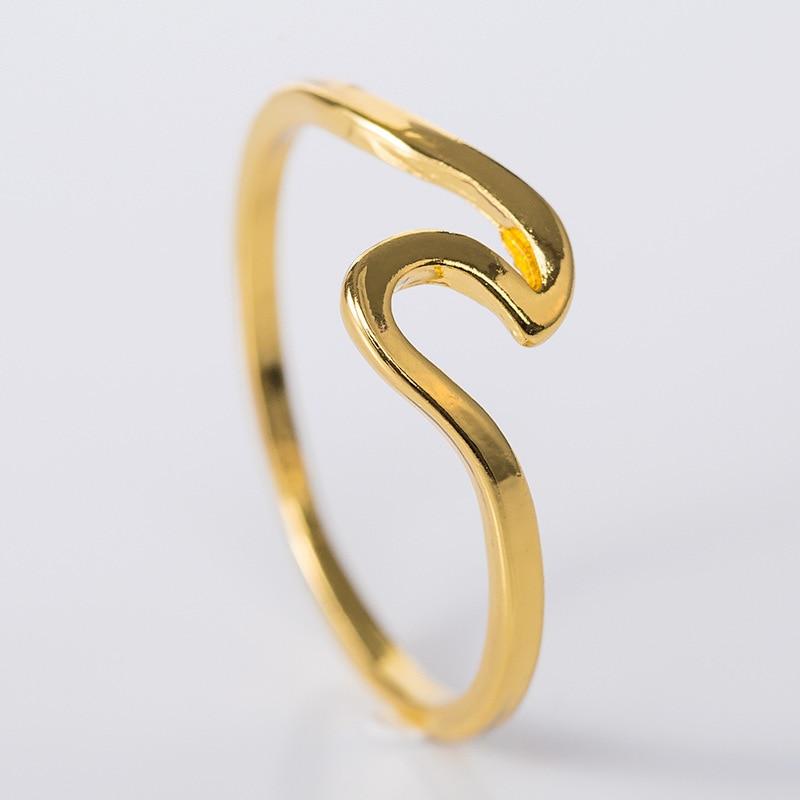 Женское кольцо с морской волной, золотистое/серебристое кольцо из сплава для серфинга, ювелирное изделие в подарок 4