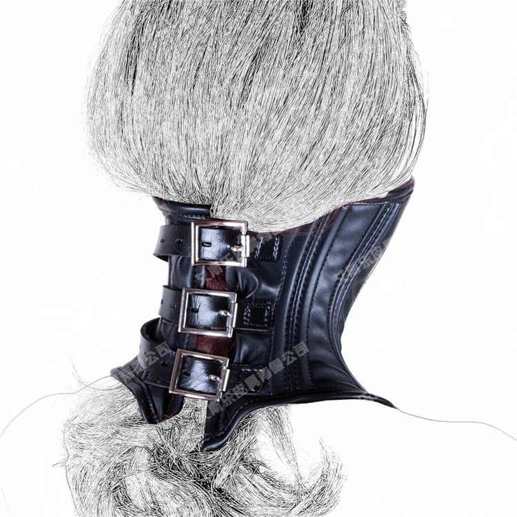 Black leather neck corset bondage harness bdsm slave collar chin collars restraints sleeve adult games sex toys for fetish wear
