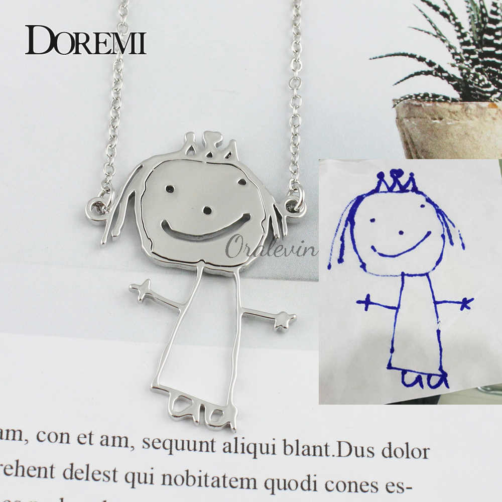 Customized Children's Drawing Necklace Kid'sDOREM Art Child Key chain Personalized Necklace Custom Your Design Name LOGO Jewelry