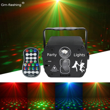 Holiday Laser Stage Light Voice Control DJ Disco Mini Party Light RGB Colorful Christmas Scanning Effect Light for Bar Club KTV