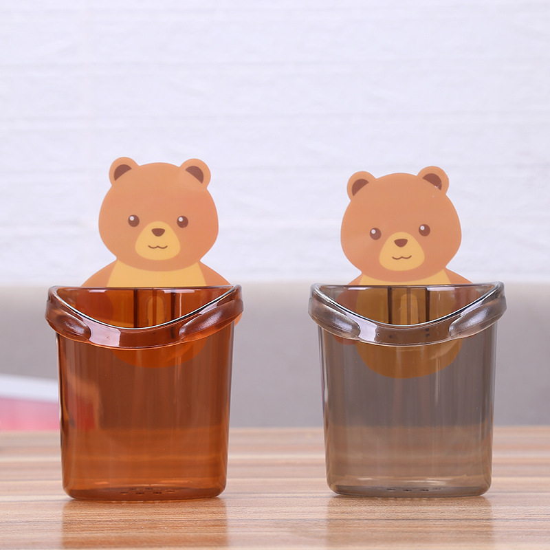 No hole self adhesive creative cup holder wall mounted bear toothbrush cup holder cartoon mouthwash cup holder Wash Cup
