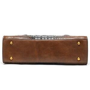 Image 4 - WESTAL handtaschen frauen aus echtem leder alligator design frauen leder handtaschen messenger/schulter taschen großen griff top tasche
