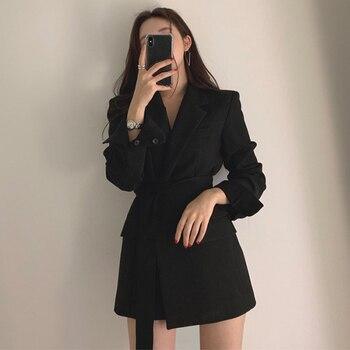 Blazers 2020 y chaquetas de otoño chaqueta blanca para mujer chaqueta negra capa de talla grande traje de manga larga para mujer