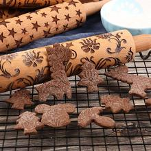 Wooden Rolling Pin With Easy Roll Bearings Embossed Deer Kitchen Cooking Baking Tools Christmas Decoration Fondant
