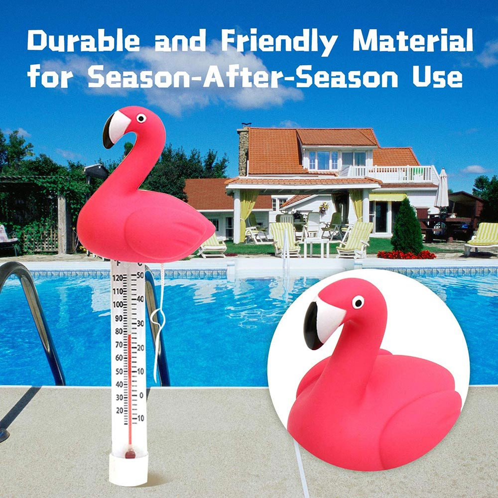 Floating Swimming Pool Thermometer Water Temperature Gauge Cartoon Flamingo Thermometers With String For Swimming Pools Spas