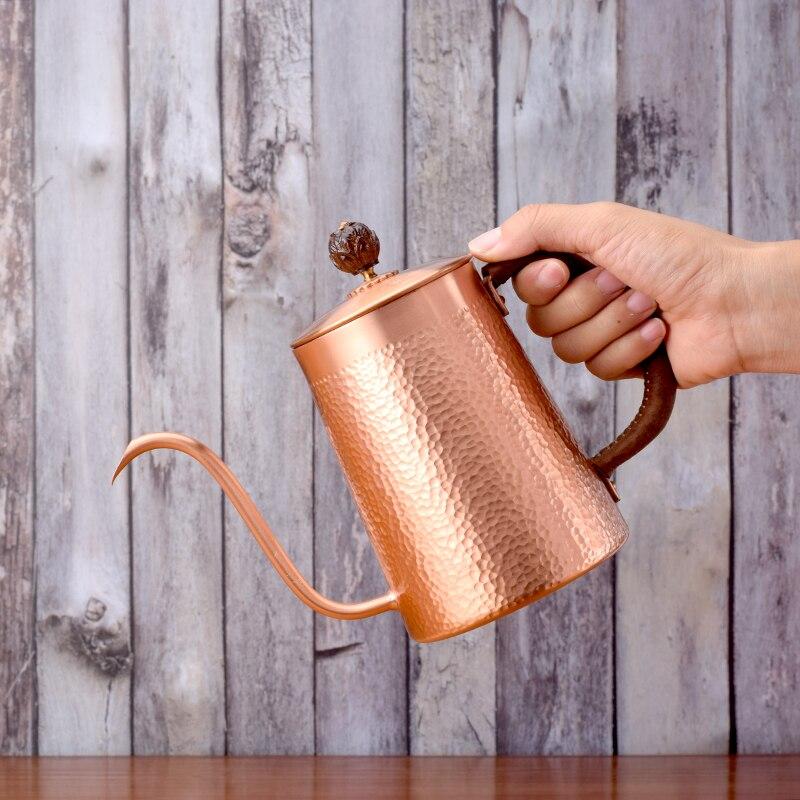 Cafetière en cuivre rouge col de cygne | pot d'égouttage, pot long 700ml pour un café
