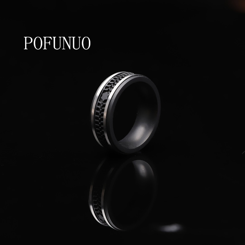 POFUNUO Men's Ring Tungsten Ring for men fashion Wedding Classic Jewelry Engagement Party RING Fit black Matte free shipping image