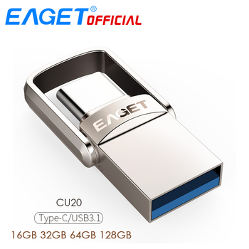 EAGET CU20 USB Flash Drive 32GB OTG Metal 3.0 Pen  64GB Type C High Speed pendrive Mini Memory Stick