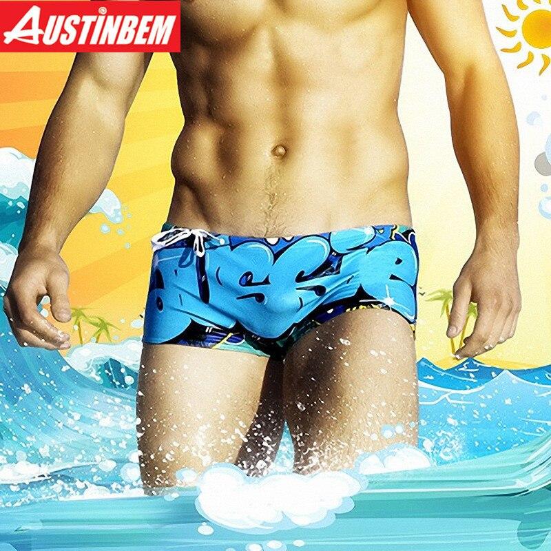 Austinbem Sexy Surf Swim Briefs Men Swimwear Shorts Beach Board Swimming Trunks 201