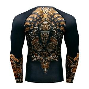 Image 3 - Muay hızlı kuru döküntü bekçi t gömlek erkekler uzun kollu Rashguard boks sıkıştırma forması kickboks sıkı t shirt MMA Fightwear