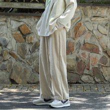 Pantalones de pana de pierna ancha para hombre, pantalón informal, holgado, de moda, con banda en el tobillo, para primavera