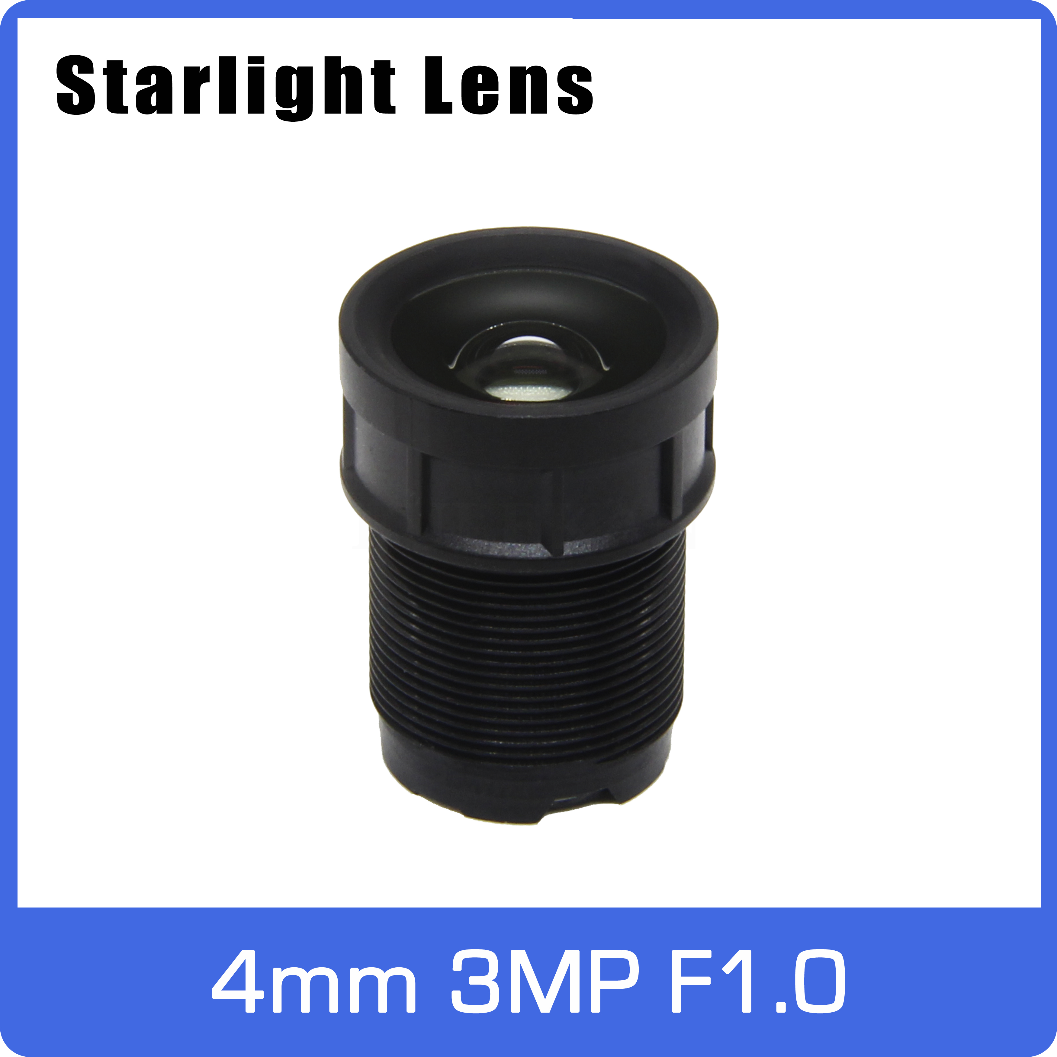 Super Starlight Lens Aperture F1.0 3MP 4mm For SONY IMX290/291/307/327 Ultra Low Light  AHD IP Camera Free Shipping